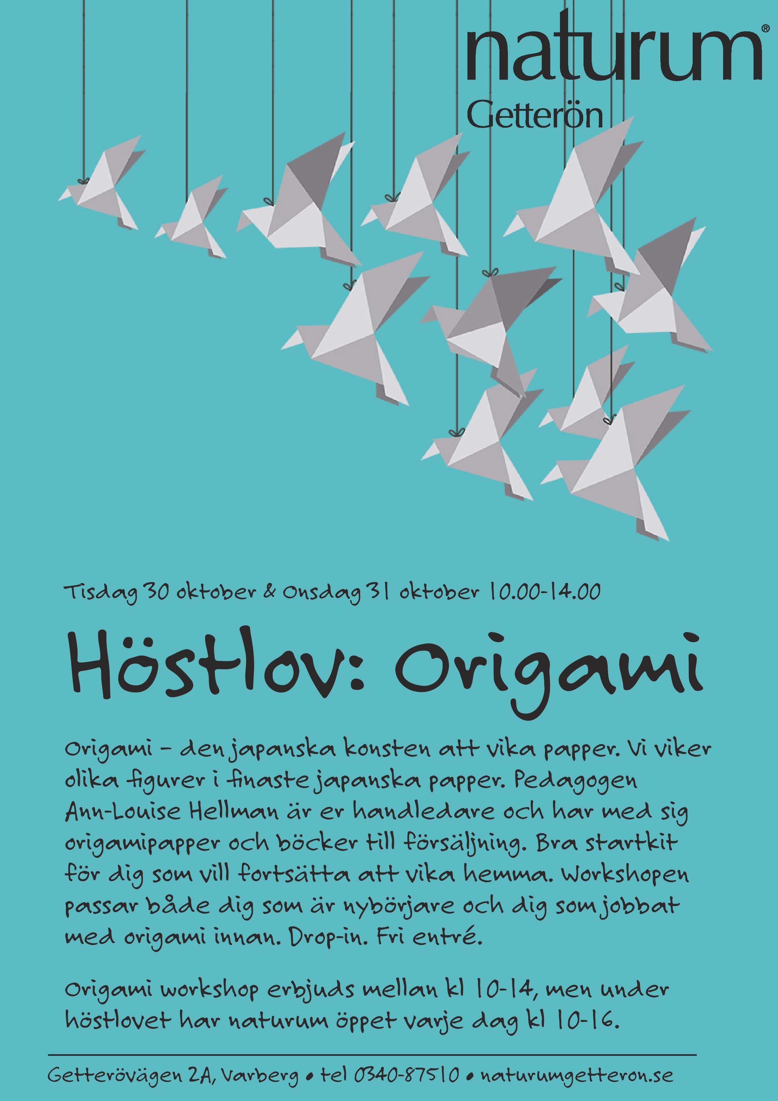 Höstlov: Origami | 30-31/10 | 10:00-14:00
